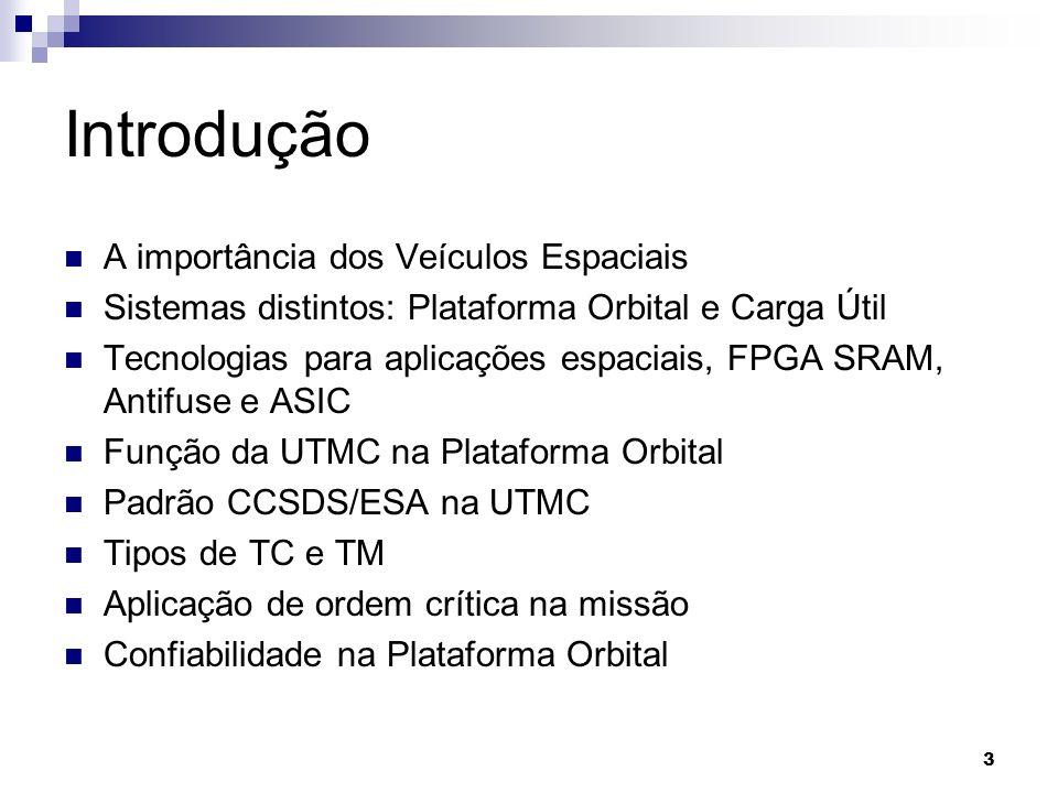 Introdução A importância dos Veículos Espaciais Sistemas distintos: Plataforma Orbital e Carga Útil Tecnologias para aplicações espaciais, FPGA SRAM,