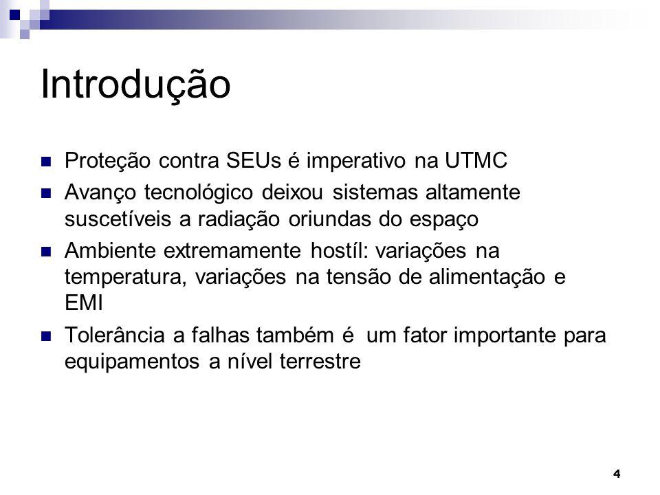 Introdução Proteção contra SEUs é imperativo na UTMC Avanço tecnológico deixou sistemas altamente suscetíveis a radiação oriundas do espaço Ambiente e