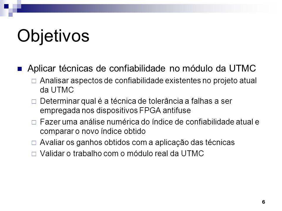 Objetivos Aplicar técnicas de confiabilidade no módulo da UTMC Analisar aspectos de confiabilidade existentes no projeto atual da UTMC Determinar qual