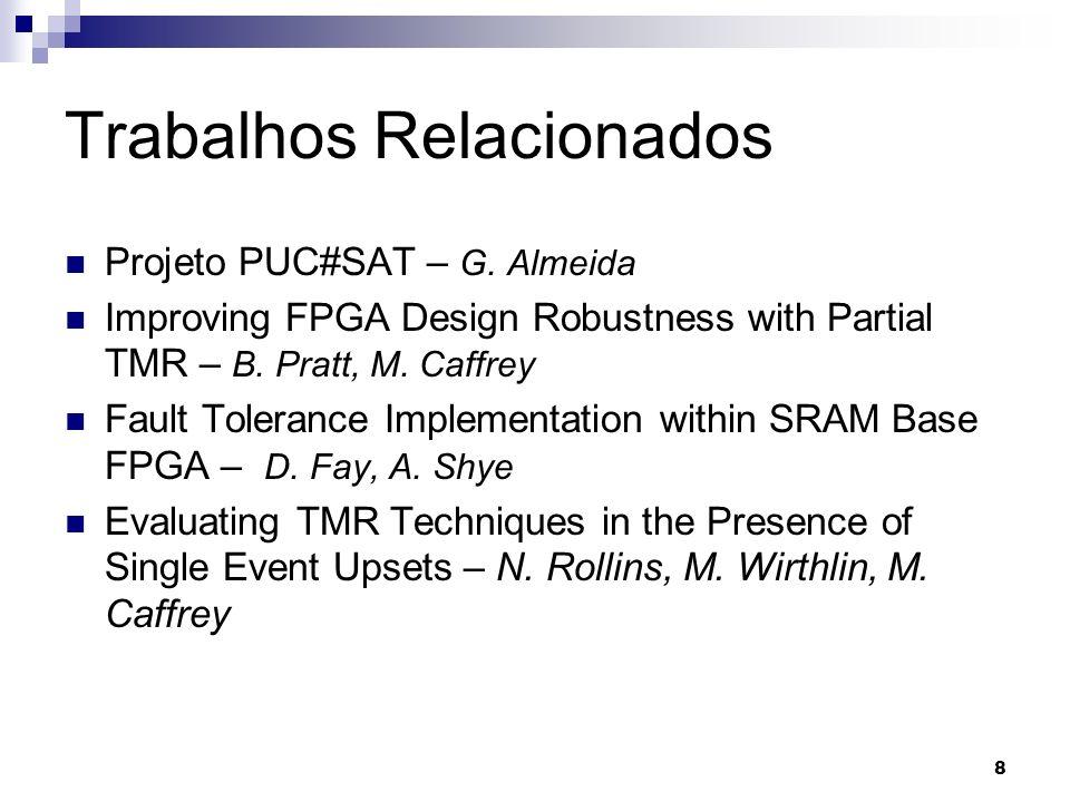 Trabalhos Relacionados Projeto PUC#SAT – G. Almeida Improving FPGA Design Robustness with Partial TMR – B. Pratt, M. Caffrey Fault Tolerance Implement