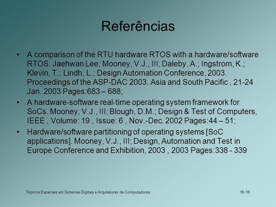 Tópicos Especiais em Sistemas Digitais e Arquiteturas de Computadores /1818 Referências A comparison of the RTU hardware RTOS with a hardware/software