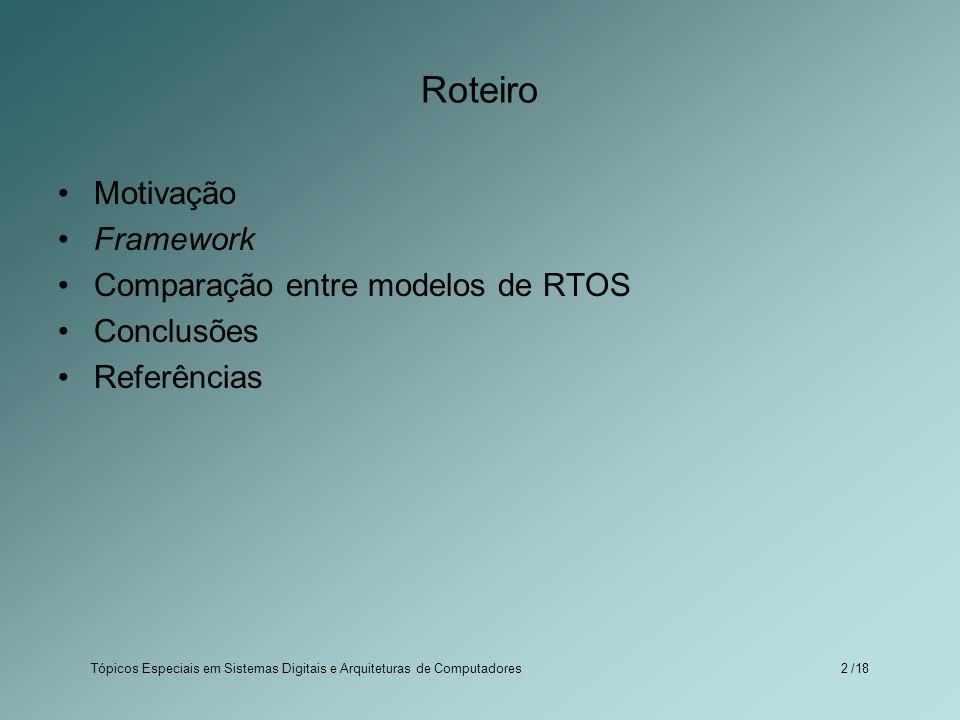 Tópicos Especiais em Sistemas Digitais e Arquiteturas de Computadores /182 Roteiro Motivação Framework Comparação entre modelos de RTOS Conclusões Ref