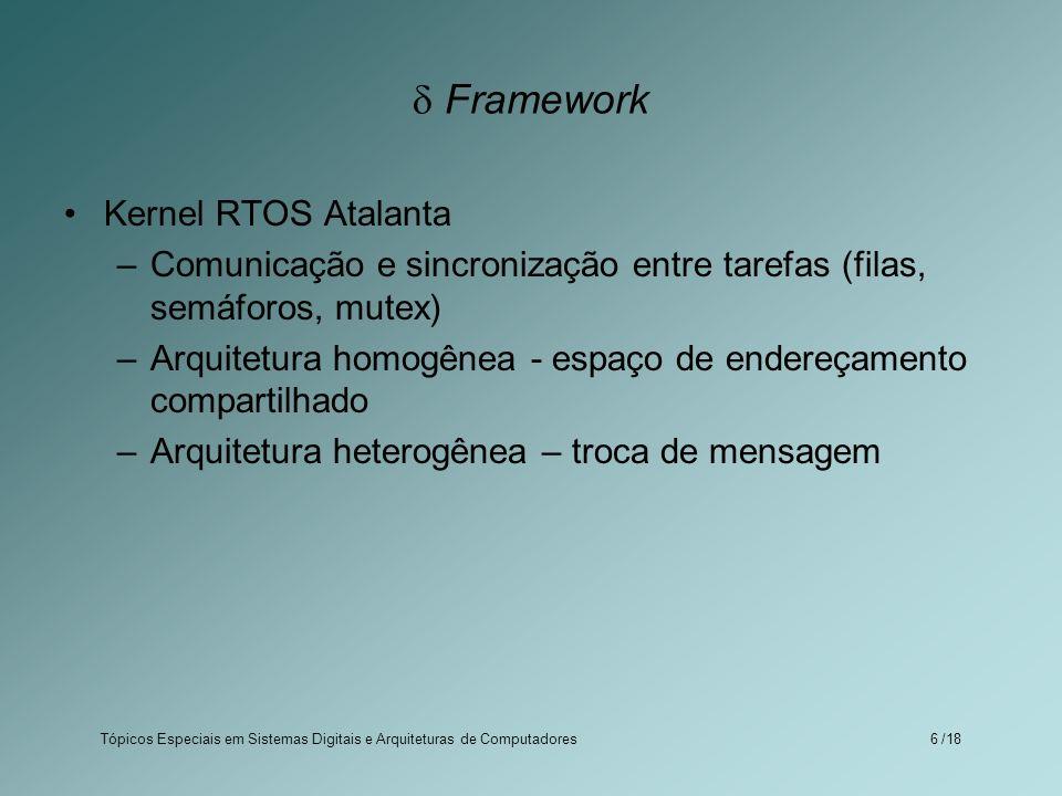 Tópicos Especiais em Sistemas Digitais e Arquiteturas de Computadores /186 Framework Kernel RTOS Atalanta –Comunicação e sincronização entre tarefas (