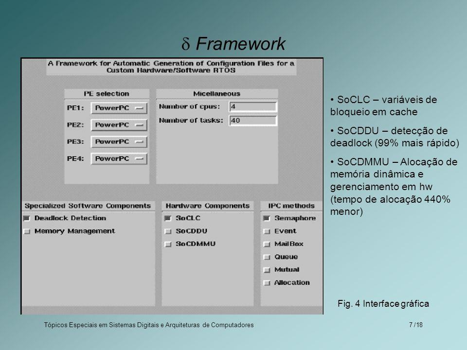 Tópicos Especiais em Sistemas Digitais e Arquiteturas de Computadores /187 Framework SoCLC – variáveis de bloqueio em cache SoCDDU – detecção de deadl