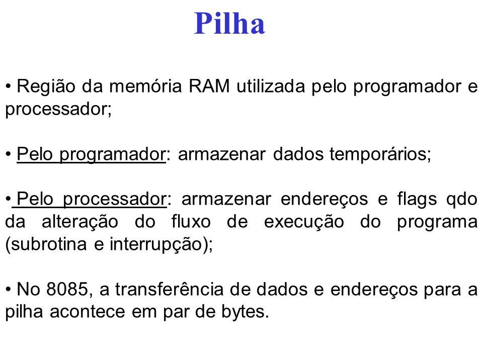 Pilha Região da memória RAM utilizada pelo programador e processador; Pelo programador: armazenar dados temporários; Pelo processador: armazenar ender