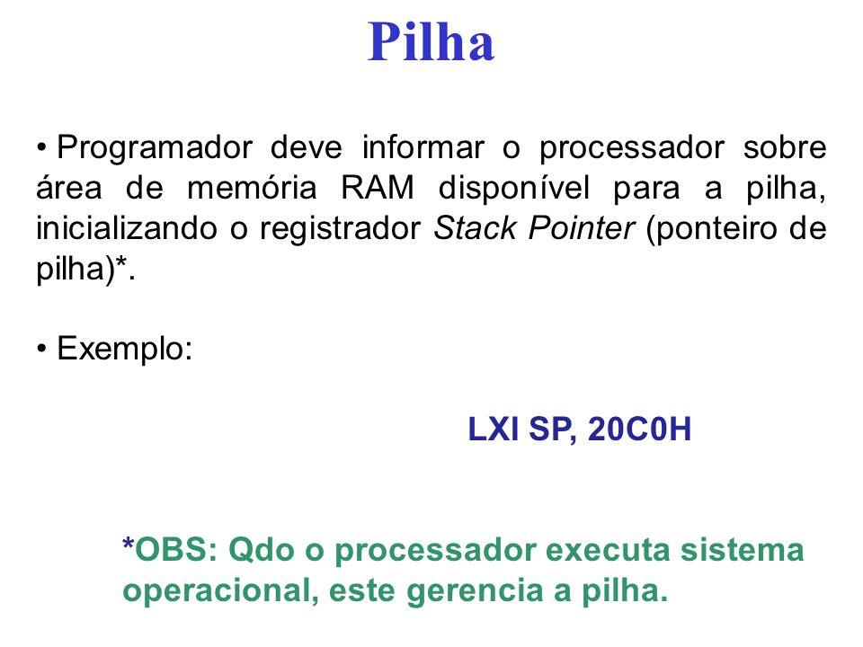 Pilha Programador deve informar o processador sobre área de memória RAM disponível para a pilha, inicializando o registrador Stack Pointer (ponteiro d