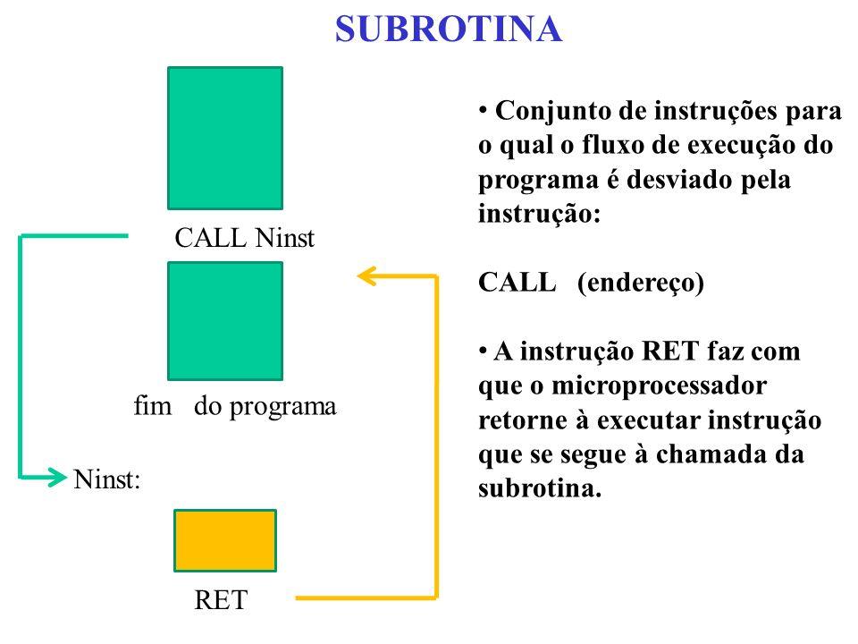 SUBROTINA Ninst: RET CALL Ninst fim do programa Conjunto de instruções para o qual o fluxo de execução do programa é desviado pela instrução: CALL (en
