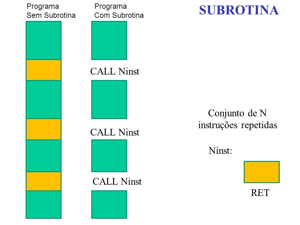 Programa Sem Subrotina Conjunto de N instruções repetidas CALL Ninst Ninst: RET Programa Com Subrotina SUBROTINA