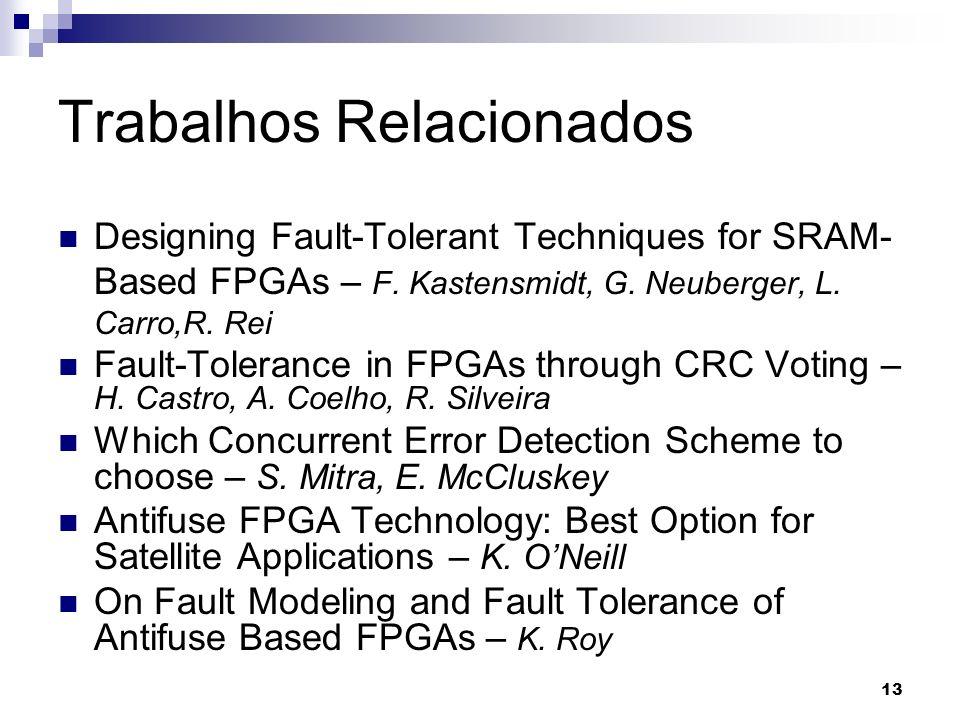 Trabalhos Relacionados Designing Fault-Tolerant Techniques for SRAM- Based FPGAs – F. Kastensmidt, G. Neuberger, L. Carro,R. Rei Fault-Tolerance in FP