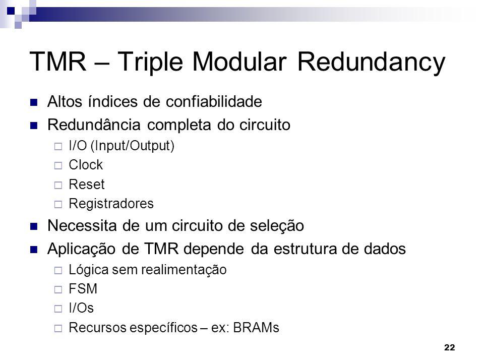 TMR – Triple Modular Redundancy Altos índices de confiabilidade Redundância completa do circuito I/O (Input/Output) Clock Reset Registradores Necessit