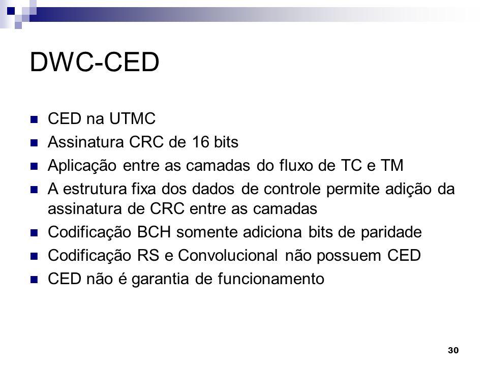 DWC-CED CED na UTMC Assinatura CRC de 16 bits Aplicação entre as camadas do fluxo de TC e TM A estrutura fixa dos dados de controle permite adição da