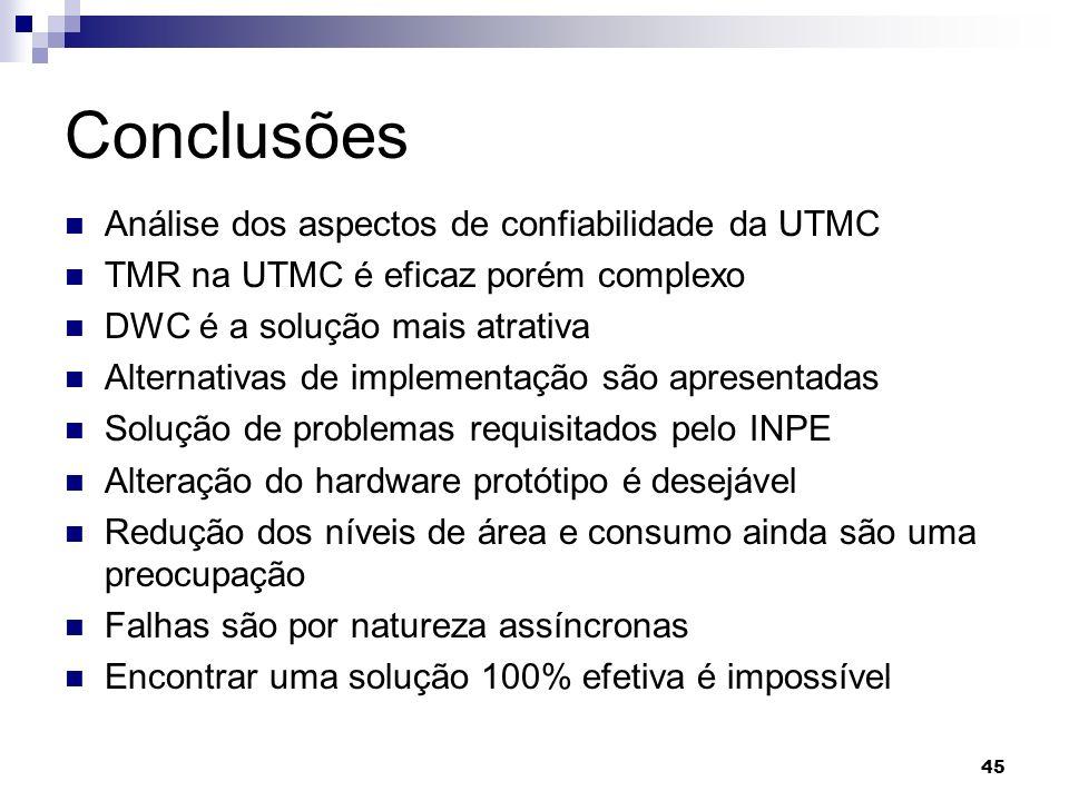 Conclusões Análise dos aspectos de confiabilidade da UTMC TMR na UTMC é eficaz porém complexo DWC é a solução mais atrativa Alternativas de implementa