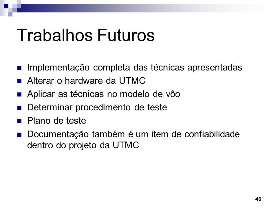 Trabalhos Futuros Implementação completa das técnicas apresentadas Alterar o hardware da UTMC Aplicar as técnicas no modelo de vôo Determinar procedim