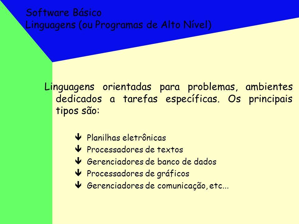 Software Básico Linguagens (ou Programas de Alto Nível) Linguagens orientadas para problemas, ambientes dedicados a tarefas específicas. Os principais