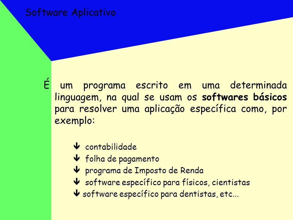 Software Aplicativo É um programa escrito em uma determinada linguagem, na qual se usam os softwares básicos para resolver uma aplicação específica co