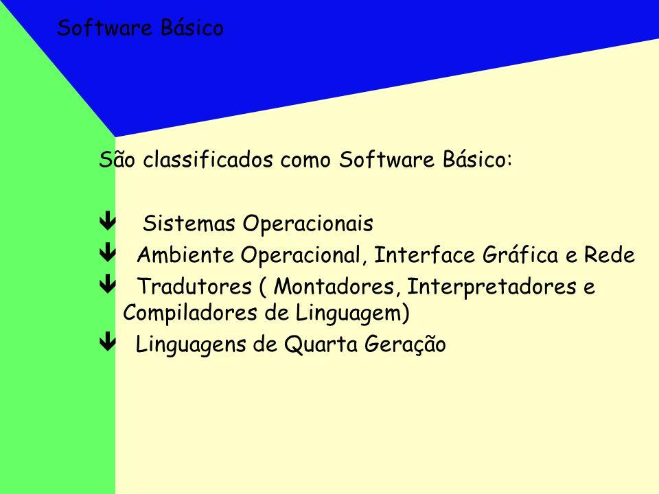 Software Básico São classificados como Software Básico: ê Sistemas Operacionais ê Ambiente Operacional, Interface Gráfica e Rede ê Tradutores ( Montad