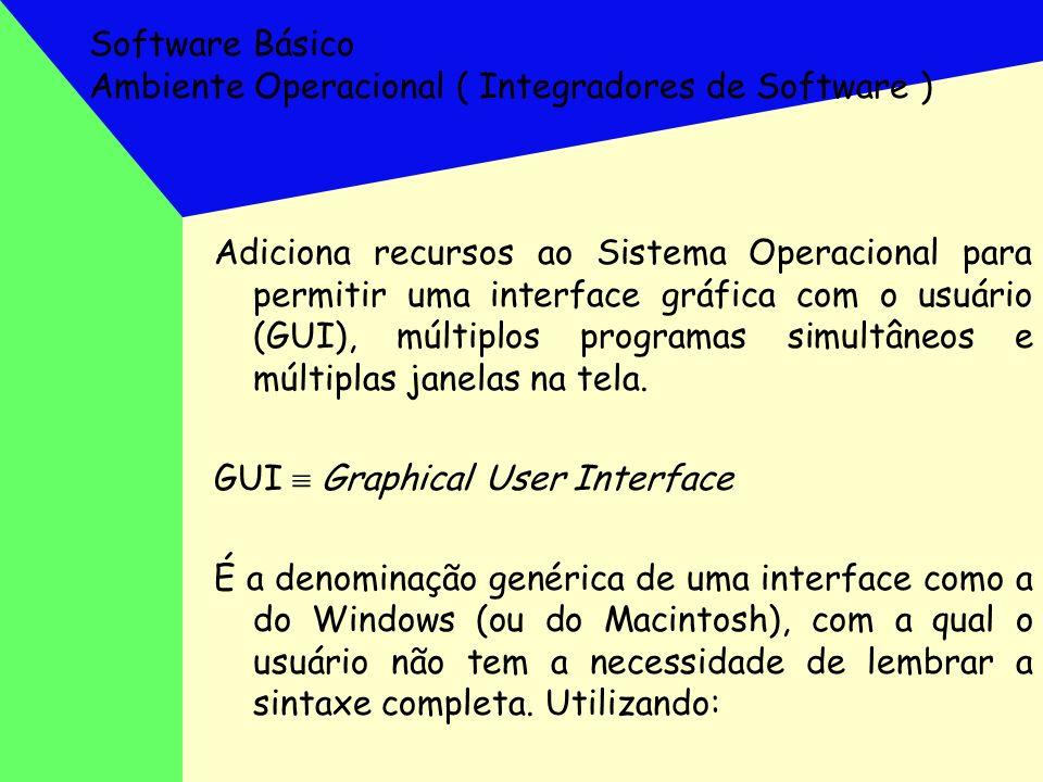Software Básico Interface Gráfica - GUI êícones (objetos, símbolos e representações gráficas para representar arquivos, programas, funções e comandos); êum dispositivo de posicionamento (mouse); êmenus universais e opções abertas como cortinas (barras de formatos, ferramentas, menus, etc...); êjanelas superpostas; êalém de permitir uma orientação para objetos ( em vez de nomes em programas)
