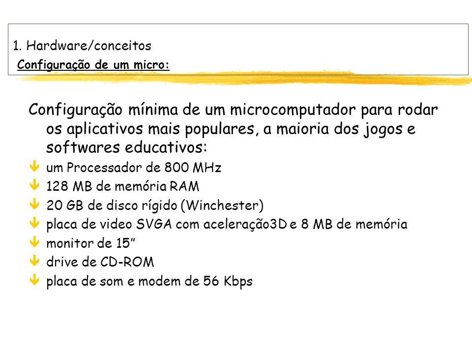 1. Hardware/conceitos Configuração de um micro: Configuração mínima de um microcomputador para rodar os aplicativos mais populares, a maioria dos jogo