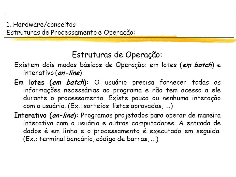 1. Hardware/conceitos Estruturas de Processamento e Operação: Estruturas de Operação: Existem dois modos básicos de Operação: em lotes (em batch) e in