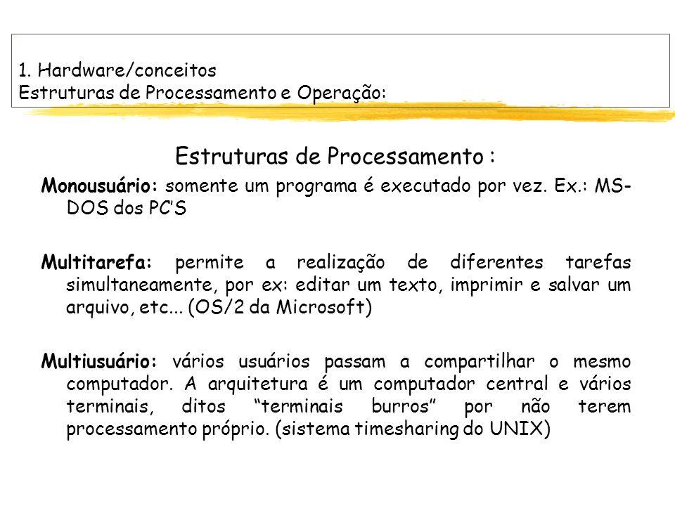 1. Hardware/conceitos Estruturas de Processamento e Operação: Estruturas de Processamento : Monousuário: somente um programa é executado por vez. Ex.: