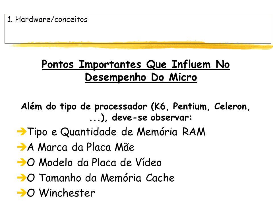 1. Hardware/conceitos Pontos Importantes Que Influem No Desempenho Do Micro Além do tipo de processador (K6, Pentium, Celeron,...), deve-se observar: