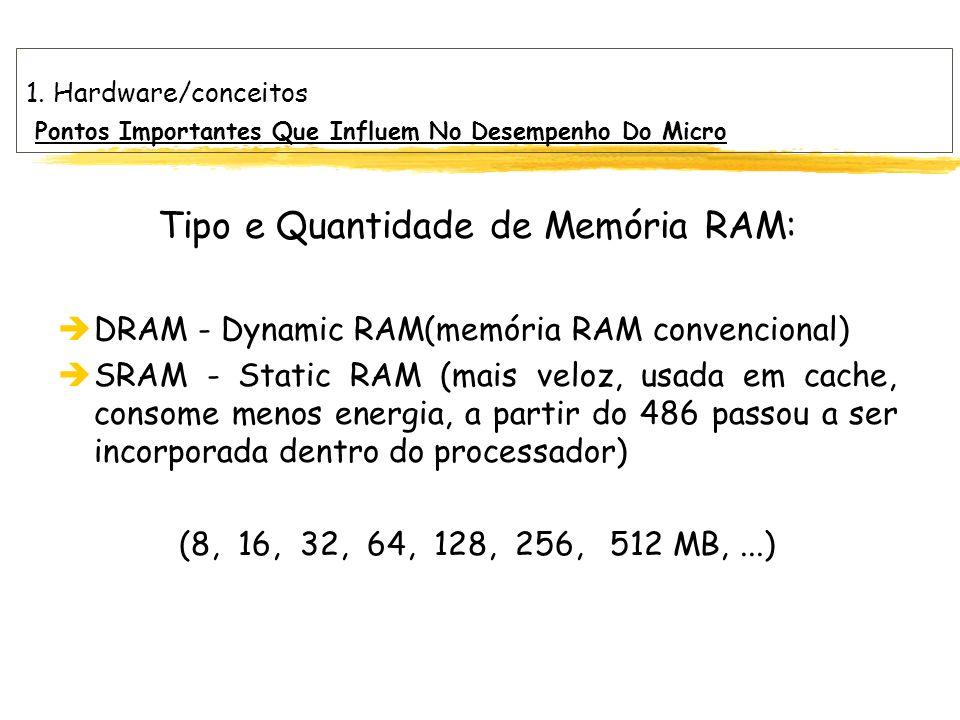 1. Hardware/conceitos Pontos Importantes Que Influem No Desempenho Do Micro Tipo e Quantidade de Memória RAM: èDRAM - Dynamic RAM(memória RAM convenci