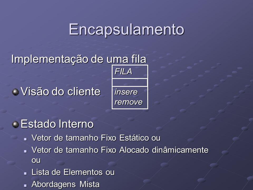 Encapsulamento Implementação de uma fila Visão do cliente Estado Interno Vetor de tamanho Fixo Estático ou Vetor de tamanho Fixo Estático ou Vetor de