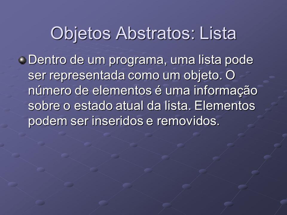 Objetos Abstratos: Lista Dentro de um programa, uma lista pode ser representada como um objeto. O número de elementos é uma informação sobre o estado