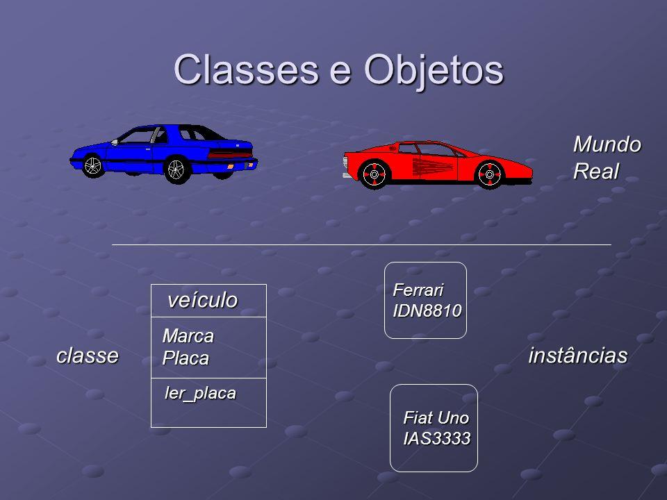 Classes e Objetos MundoReal veículo MarcaPlaca ler_placa FerrariIDN8810 Fiat Uno IAS3333 instânciasclasse