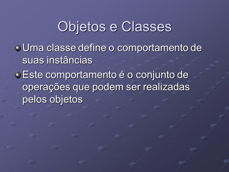 Objetos e Classes Uma classe define o comportamento de suas instâncias Este comportamento é o conjunto de operações que podem ser realizadas pelos objetos
