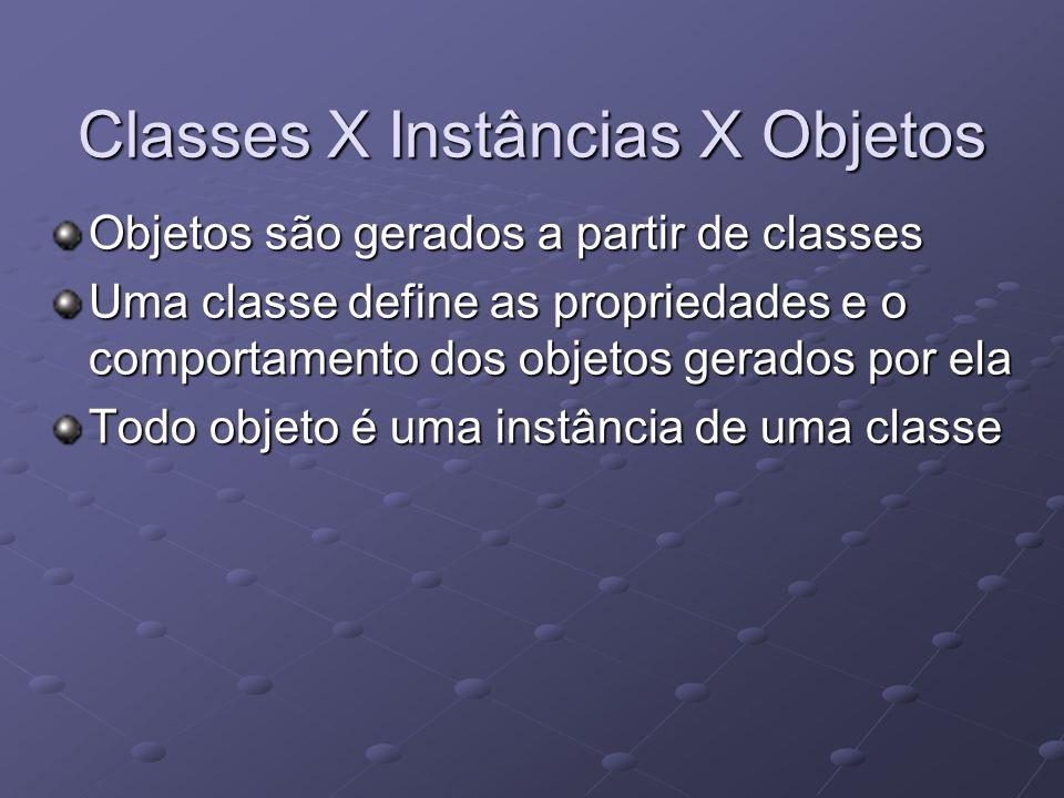 Classes X Instâncias X Objetos Objetos são gerados a partir de classes Uma classe define as propriedades e o comportamento dos objetos gerados por ela Todo objeto é uma instância de uma classe