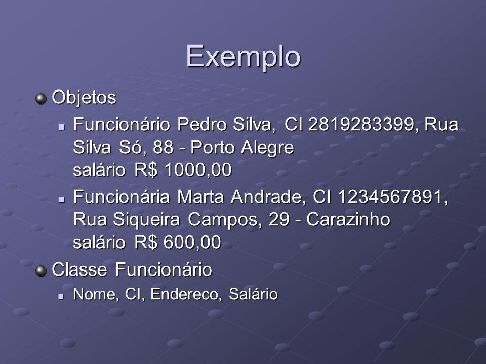 Exemplo Objetos Funcionário Pedro Silva, CI 2819283399, Rua Silva Só, 88 - Porto Alegre salário R$ 1000,00 Funcionário Pedro Silva, CI 2819283399, Rua