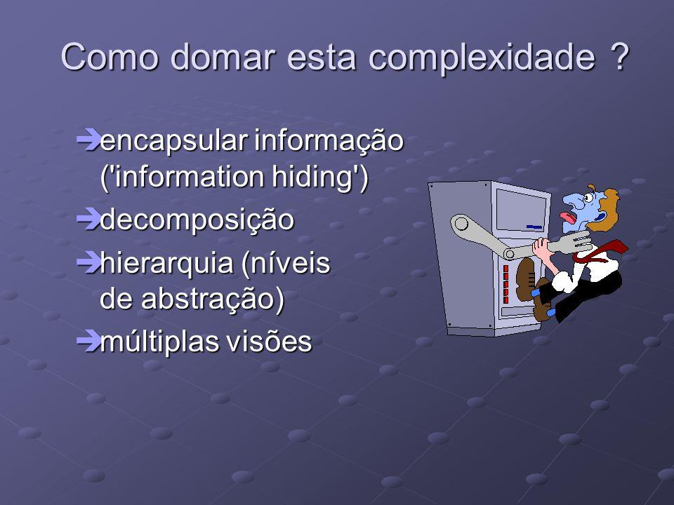 Como domar esta complexidade ? èencapsular informação ('information hiding') èdecomposição èhierarquia (níveis de abstração) èmúltiplas visões