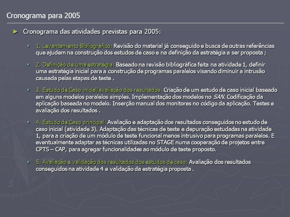 Cronograma para 2005 Cronograma das atividades previstas para 2005: Cronograma das atividades previstas para 2005: 1. Levantamento Bibliográfico: Revi