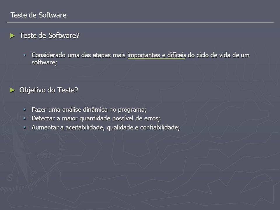 Teste de Software Teste de Software? Teste de Software? Considerado uma das etapas mais importantes e difíceis do ciclo de vida de um software; Consid