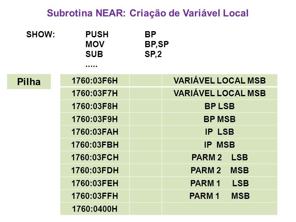 Subrotina NEAR: Criação de Variável Local SHOW:PUSHBP MOV BP,SP SUBSP,2.....
