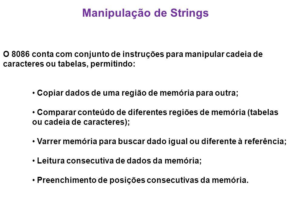 Manipulação de Strings O 8086 conta com conjunto de instruções para manipular cadeia de caracteres ou tabelas, permitindo: Copiar dados de uma região de memória para outra; Comparar conteúdo de diferentes regiões de memória (tabelas ou cadeia de caracteres); Varrer memória para buscar dado igual ou diferente à referência; Leitura consecutiva de dados da memória; Preenchimento de posições consecutivas da memória.