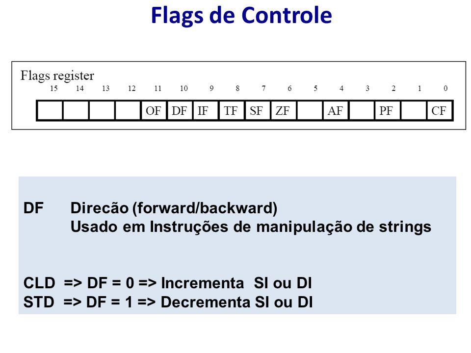 Flags de Controle DF Direcão (forward/backward) Usado em Instruções de manipulação de strings CLD => DF = 0 => Incrementa SI ou DI STD => DF = 1 => Decrementa SI ou DI