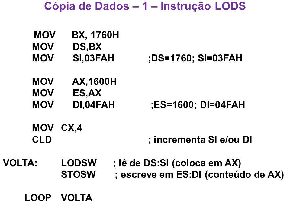 Cópia de Dados – 1 – Instrução LODS MOV BX, 1760H MOV DS,BX MOV SI,03FAH ;DS=1760; SI=03FAH MOV AX,1600H MOV ES,AX MOV DI,04FAH ;ES=1600; DI=04FAH MOVCX,4 CLD ; incrementa SI e/ou DI VOLTA: LODSW ; lê de DS:SI (coloca em AX) STOSW ; escreve em ES:DI (conteúdo de AX) LOOPVOLTA