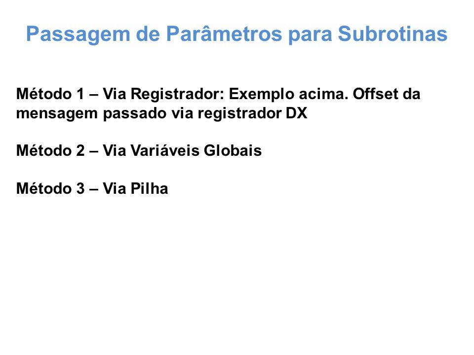Passagem de Parâmetros para Subrotinas Método 1 – Via Registrador: Exemplo acima.