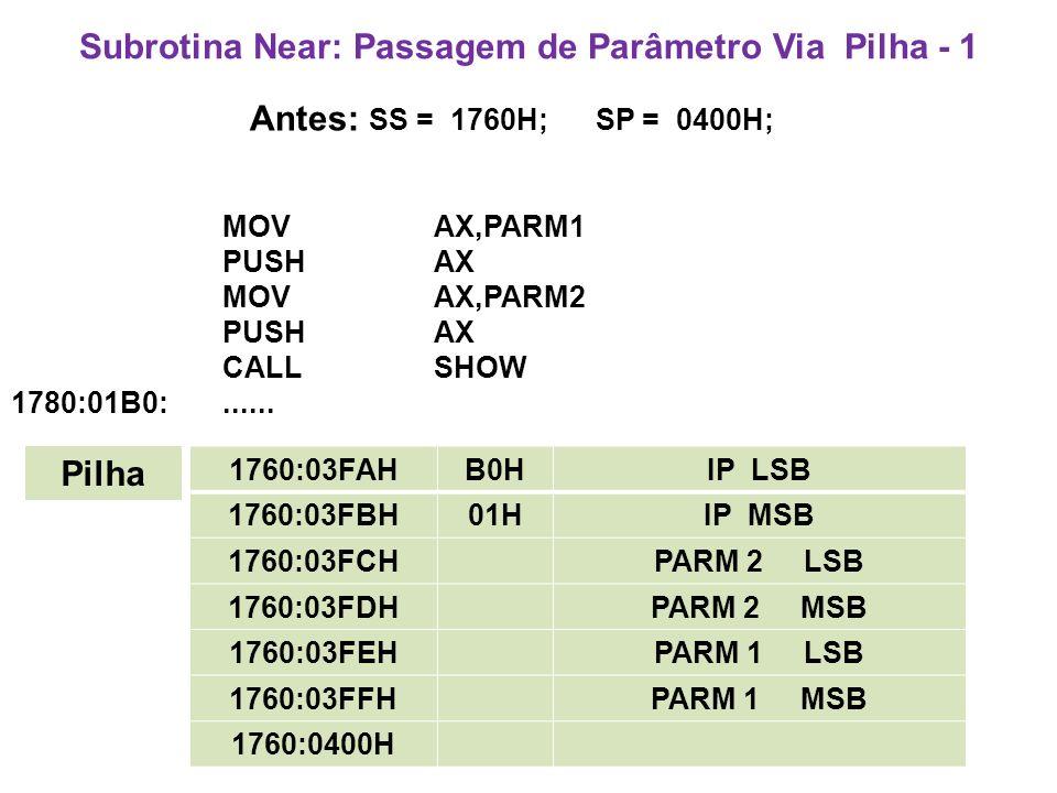 Subrotina Near: Passagem de Parâmetro Via Pilha - 1 Antes: SS = 1760H; SP = 0400H; MOV AX,PARM1 PUSH AX MOV AX,PARM2 PUSH AX CALL SHOW 1780:01B0:......