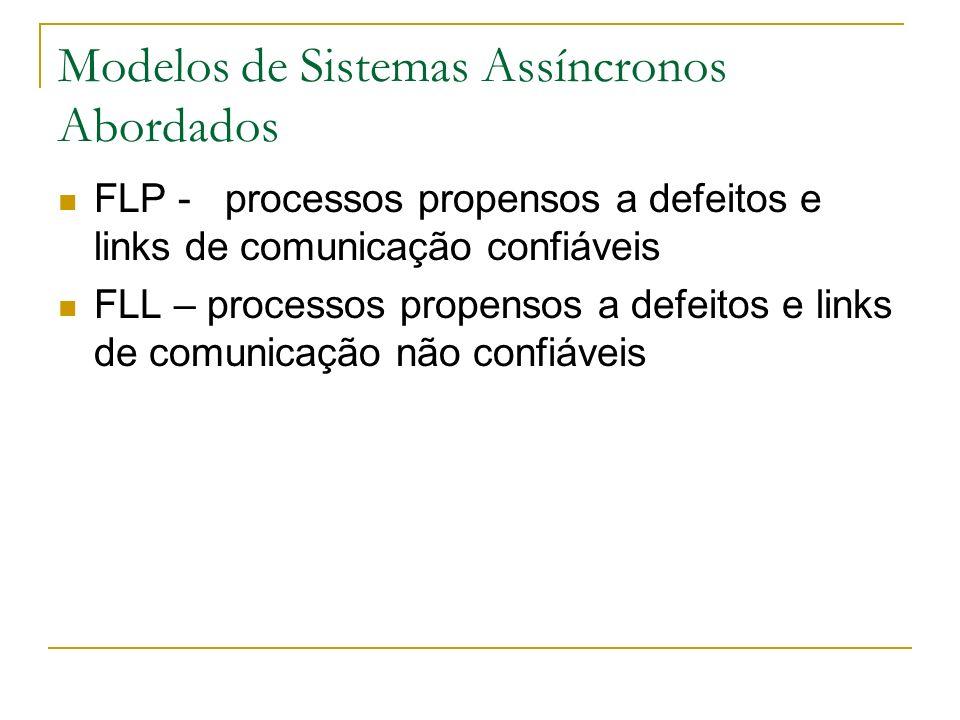 Modelos de Sistemas Assíncronos Abordados FLP - processos propensos a defeitos e links de comunicação confiáveis FLL – processos propensos a defeitos e links de comunicação não confiáveis