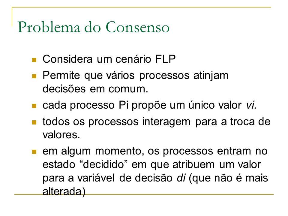 Problema do Consenso Considera um cenário FLP Permite que vários processos atinjam decisões em comum.