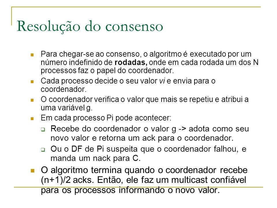 Resolução do consenso Para chegar-se ao consenso, o algoritmo é executado por um número indefinido de rodadas, onde em cada rodada um dos N processos faz o papel do coordenador.