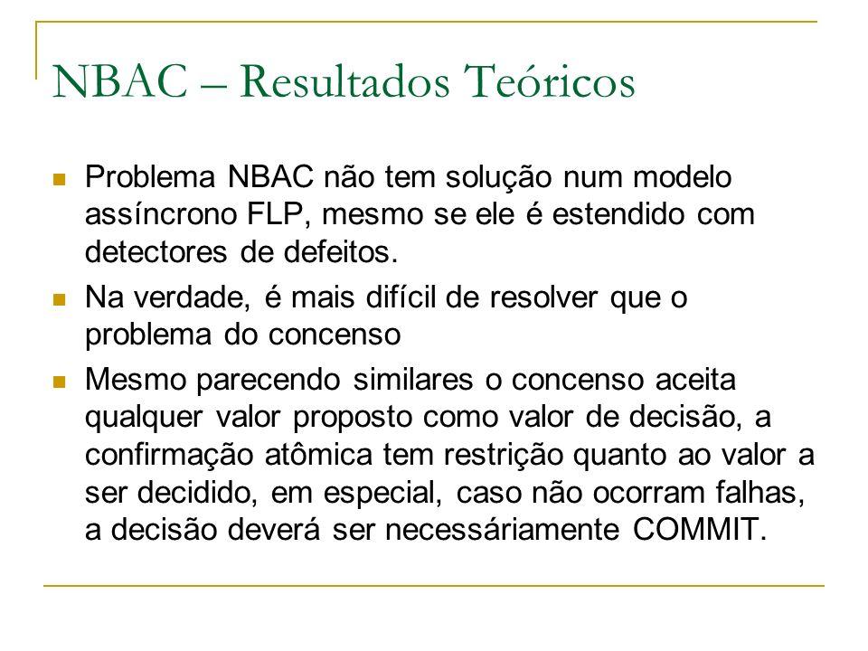 NBAC – Resultados Teóricos Problema NBAC não tem solução num modelo assíncrono FLP, mesmo se ele é estendido com detectores de defeitos.