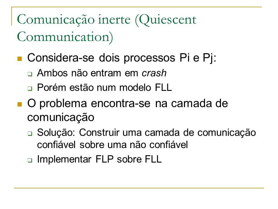 Comunicação inerte (Quiescent Communication) Considera-se dois processos Pi e Pj: Ambos não entram em crash Porém estão num modelo FLL O problema encontra-se na camada de comunicação Solução: Construir uma camada de comunicação confiável sobre uma não confiável Implementar FLP sobre FLL