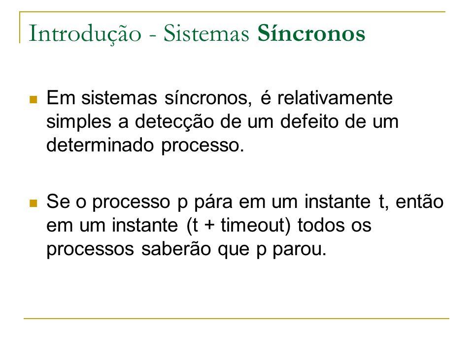 Introdução - Sistemas Síncronos Em sistemas síncronos, é relativamente simples a detecção de um defeito de um determinado processo.