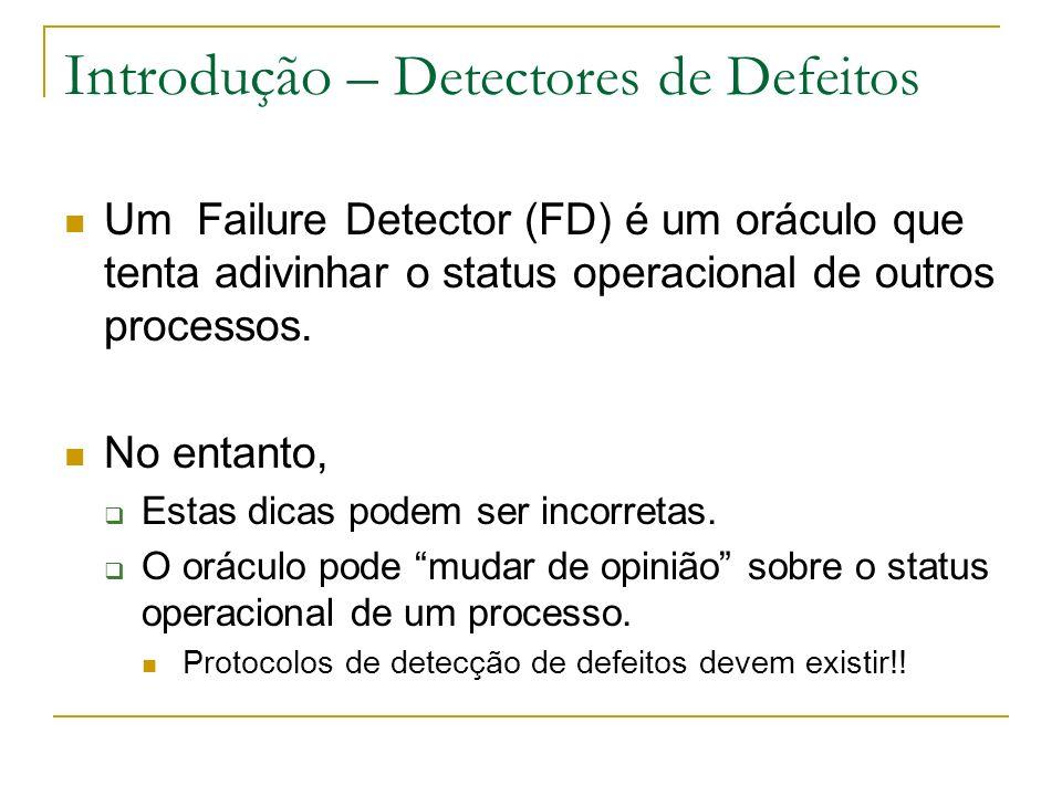 Introdução – Detectores de Defeitos Um Failure Detector (FD) é um oráculo que tenta adivinhar o status operacional de outros processos.