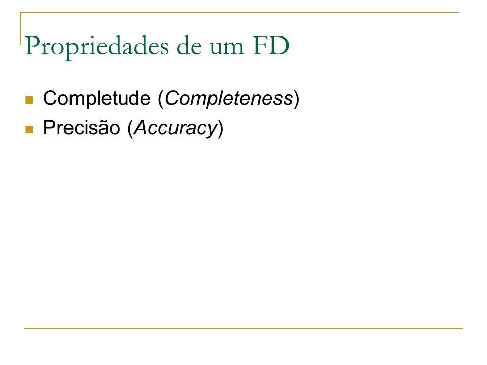 Propriedades de um FD Completude (Completeness) Precisão (Accuracy)