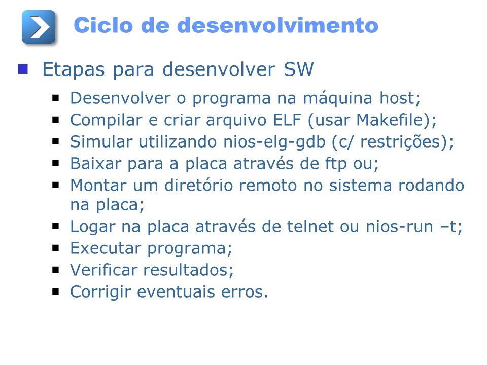 Ciclo de desenvolvimento Etapas para desenvolver SW Desenvolver o programa na máquina host; Compilar e criar arquivo ELF (usar Makefile); Simular util